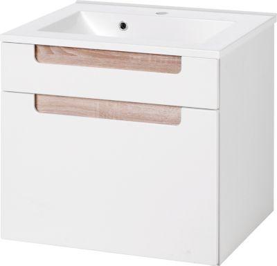Siena Waschtisch - 60 cm - Weiß/Eiche Sonoma