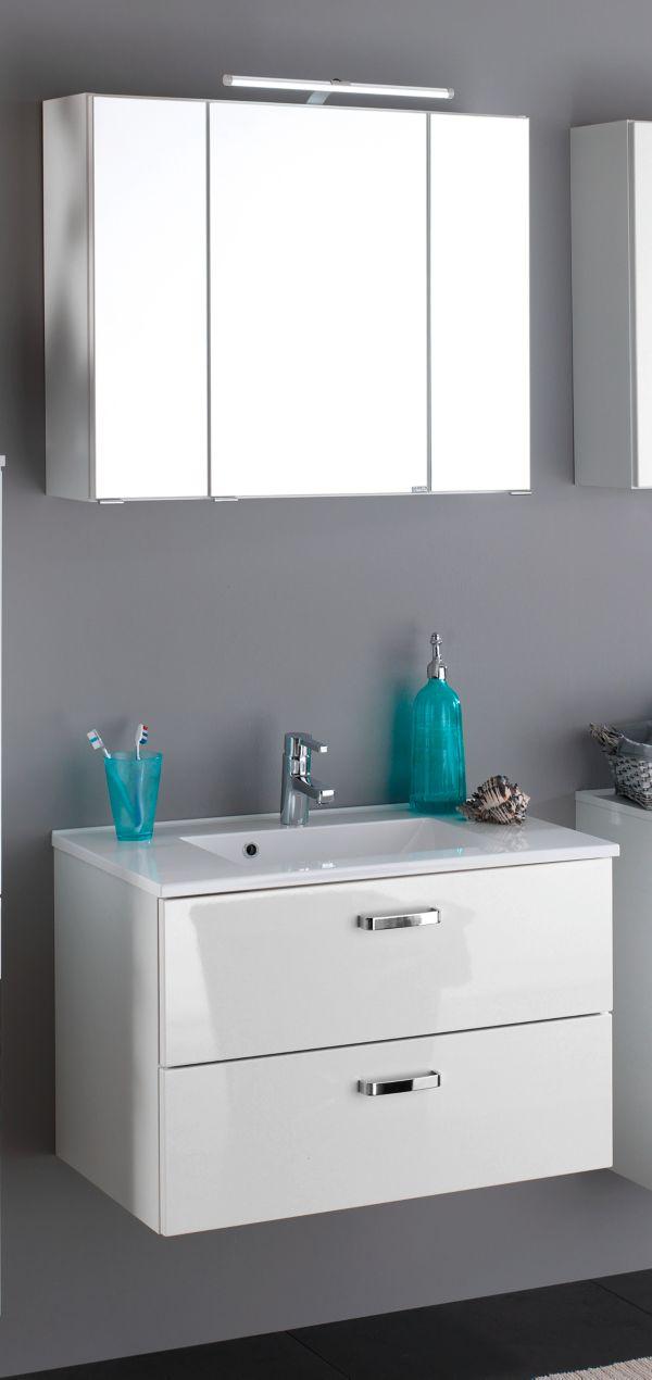 Badezimmerschrank set  HELD Möbel Bologna Waschtisch/Spiegel-Set Badschrank, Schrank ...
