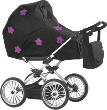 Regenschutz für Kinderwagen schwarz Blumen