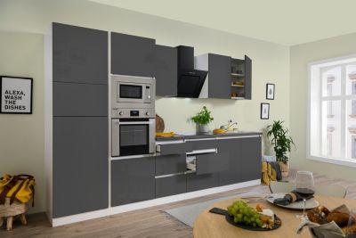 Respekta Premium grifflose Küchenzeile GLRP335HWGGKE 335 cm Grau HG-Weiß | Küche und Esszimmer > Küchen | Respekta kitchen premium