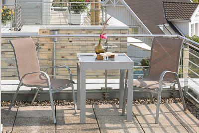 Merxx Balkonset 3tlg. Avellino mit Stapelstühlen und Ausziehtisch 65/130 x 65 cm, taupe   Garten > Balkon > Balkontische   Taupe   Merxx