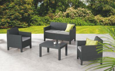 best freizeitmöbel 8-tgl. Loungeset »Chicago«, 2er Sofa, 2 Sessel, Tisch 78x59 cm, Kunststoff, anthrazit