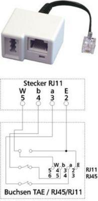Adapter UAE - RJ11-Stecker auf TAE-Buchse U / RJ45/RJ11 8(6)
