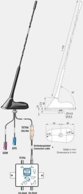 ABB Kombiflex-Antenne TETRA 2m/4m,GSM900/1800,GPS + ext.Weiche