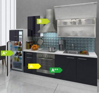 Respekta Premium Küchenzeile RP280WSCGKE 280 cm Schwarz-Weiß