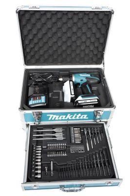 Makita  DF457DWEX3 18V Akkuschrauber-Set mit 2 Akkus, Transportkoffer, Ladegerät und 70-tlg. Zubehörset