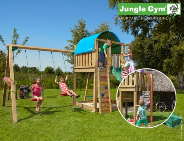 jungle gym villa 2 swing spielturm mit doppelschaukel. Black Bedroom Furniture Sets. Home Design Ideas