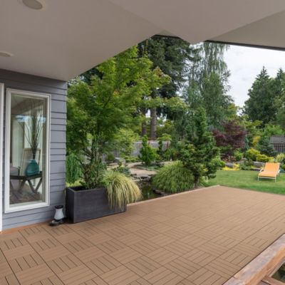 Home Deluxe  WPC Terrassenfliesen, 11 Stck., 30x30 cm, 1m², teak