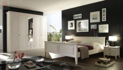 Schlafzimmer Mit Bett 180 X 200 Cm Kiefer Massiv Weiss Lasiert Forestdream Bozen Modern