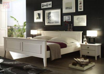 Bett 180 X 200 Cm Mit Nako-Set Kiefer Massiv Weiss Lasiert Forestdream Bozen Klassisch