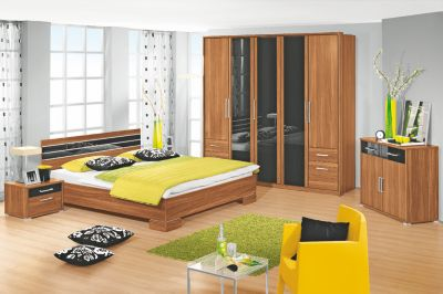 wohnwand nussbaum schwarz preisvergleich die besten angebote online kaufen. Black Bedroom Furniture Sets. Home Design Ideas