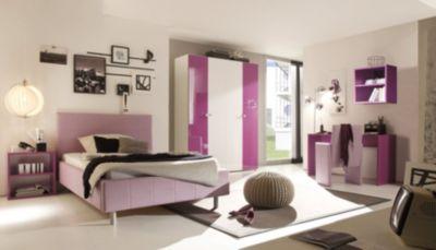 Jugendzimmer mit Bett 140 x 200 cm weiss/ lila