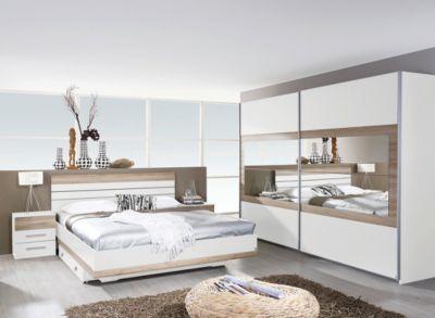 Schlafzimmer Mit Bett 180 X 200 Cm Alpinweiss Eiche Sanremo Hell
