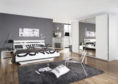 Schlafzimmer mit Bett 180 x 200 cm weiss hochglanz/ Spiegel RAUCH SELECT Denia