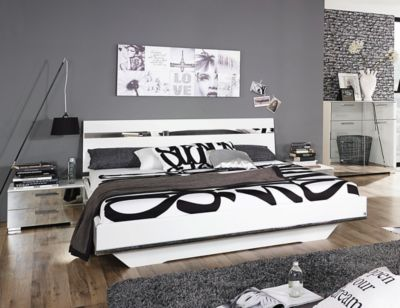Bett 180 x 200 cm mit Nako-Set weiss hochglanz/ Spiegel RAUCH SELECT Denia