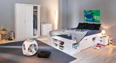 Schlafzimmer mit Bett 180 x 200 cm Kiefer massiv weiss lackiert