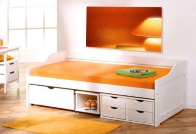 Bett 90 x 200 cm Kiefer weiss lackiert