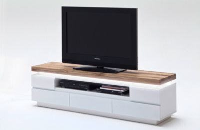 TV-Lowboard weiss matt/ Wildeiche massiv