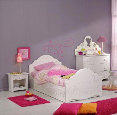 Kinderzimmer mit Bett 90 x 200 cm weiss tiefgezogen lackiert Parisot Alice 2