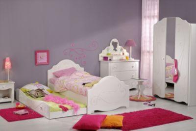 Kinderzimmer mit Bett 90 x 200 cm weiss tiefgezogen lackiert