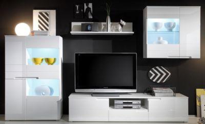 Wohnwand weiss Hochglanz mit LED-Beleuchtung
