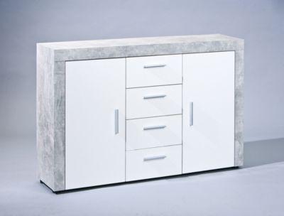 Kommode Weiss/ Grau Beton Inter Link Modern