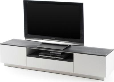 TV-Lowboard weiss matt lackiert/ Glas Steinoptik
