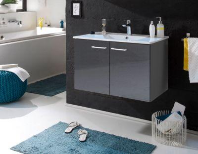 Waschbeckenunterschrank mit Becken grau
