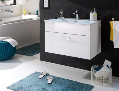 Waschbeckenunterschrank mit Becken weiss hochgl...