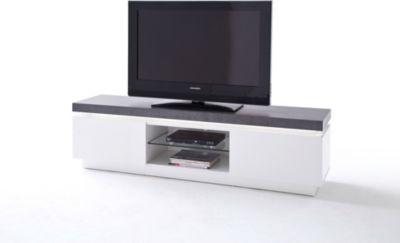 TV-Lowboard weiss matt lackiert/ grau mit LED Beleuchtung