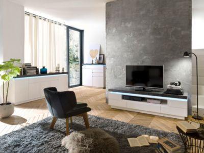 Wohnzimmer Set TV Lowboard, Sideboard Und Kommode Weiss Matt/ Grau  MCA Furniture