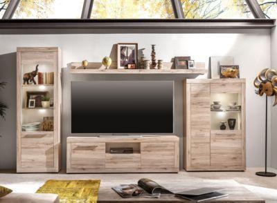 Wohnwand Sand Eiche/ Weiss Trendteam Passat Holz Modern