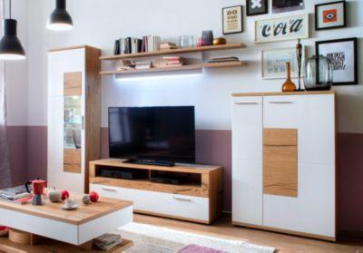 Wohnwand Weiss Matt/ Crackeiche MCA Furniture Nizza