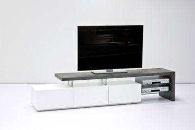 TV-Rack weiss matt/ Betonoptik