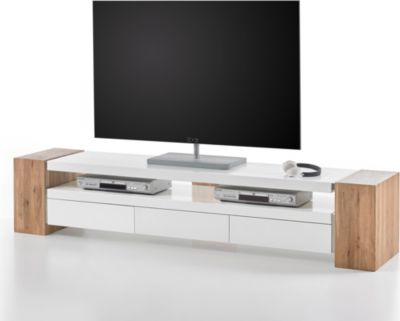 TV-Rack weiss matt/ Asteiche massiv
