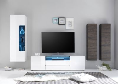 Wohnwand Weiss Hochglanz/ Wenge MCA Furniture Vicenza