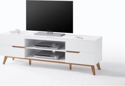 TV-Lowboard weiss matt/ Eiche