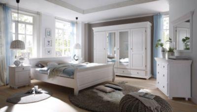 Schlafzimmer mit Bett 180 x 200 cm massiv Kiefer weiss mit Maserung