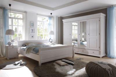 Schlafzimmer Mit Bett 180 X 200 Cm Massiv Kiefer Weiss Mit Maserung Polpower Oslo Weiß Holz Landhaus