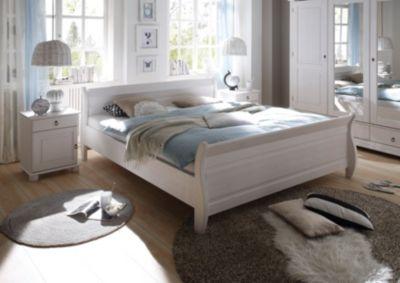 Bett 180 X 200 Cm Mit Nako Set Massiv Kiefer Weiss Mit Maserung Polpower Oslo Weiß Holz Landhaus