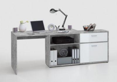 Schreibtisch weiss hochglanz/ hell grau/ Atelier