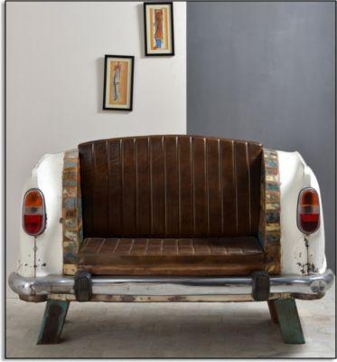 Sofa Autoheck creme/ bunt mit Sitzkissen