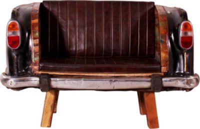 Sofa Autoheck schwarz/ bunt mit Sitzkissen