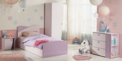 Jugendzimmer mit Bett 90 x 200 cm rosa/ lila