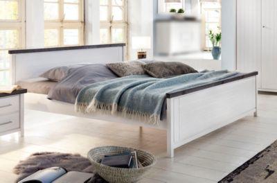 Bett 180 x 200 cm Kiefer massiv weiss lasiert mit Absetzung in braun
