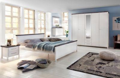 Schlafzimmer Kiefer massiv weiss lasiert/ braun mit Bett 180 x 200 cm