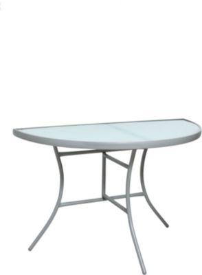 Wandtisch halbrund silber/Milchglas