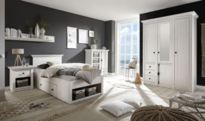 Schlafzimmer Mit Bett 90 X 200 Cm Pinie Weiss IMV Westerland