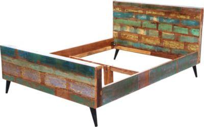 Bett 180 X 200 Cm Aus Reyceltem Altholz Massiv Mit Metallfüssen Sit-Möbel Miami Recycled Altholz Massiv Stylisch