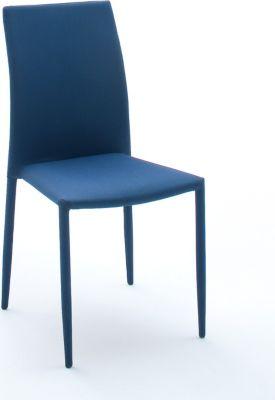 6er Stuhlset Stapelstuhl schwarz/ blau kariert